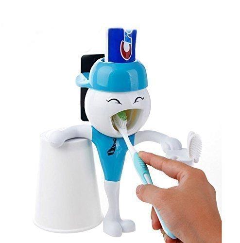 Dispensador de Pasta de Dientes Autom/ático y Portacepillos de Dientes Emwel Pr/áctico Set de Ba/ño Familiar con Soporte de Cepillos de Dientes y Dosificador de Pasta Dental
